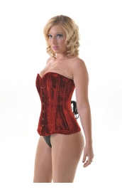 Morticia Red Velvet Corset